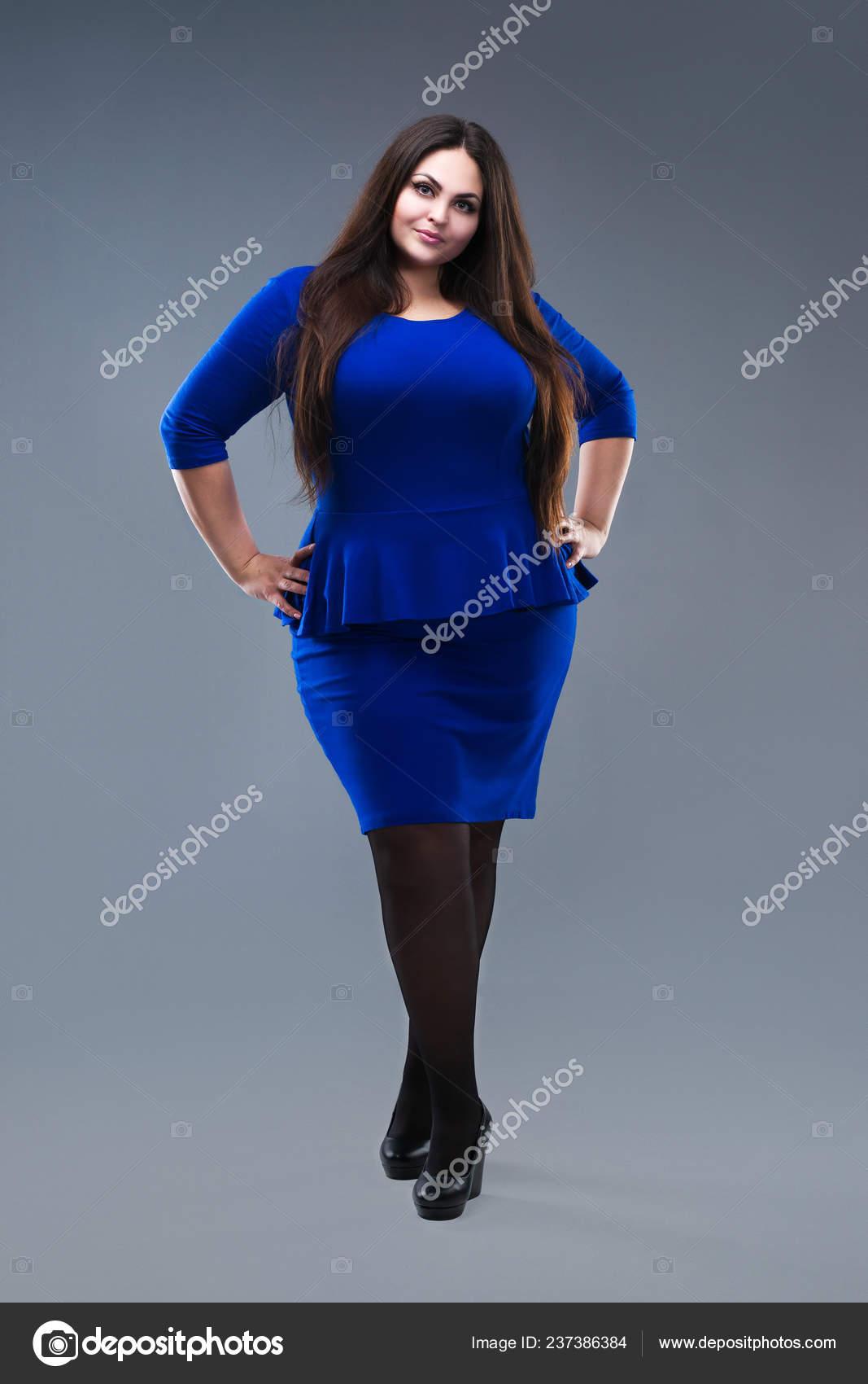 2c4e1fc01c7 Size Fashion Model Blue Dress Fat Woman Gray Studio Background ...