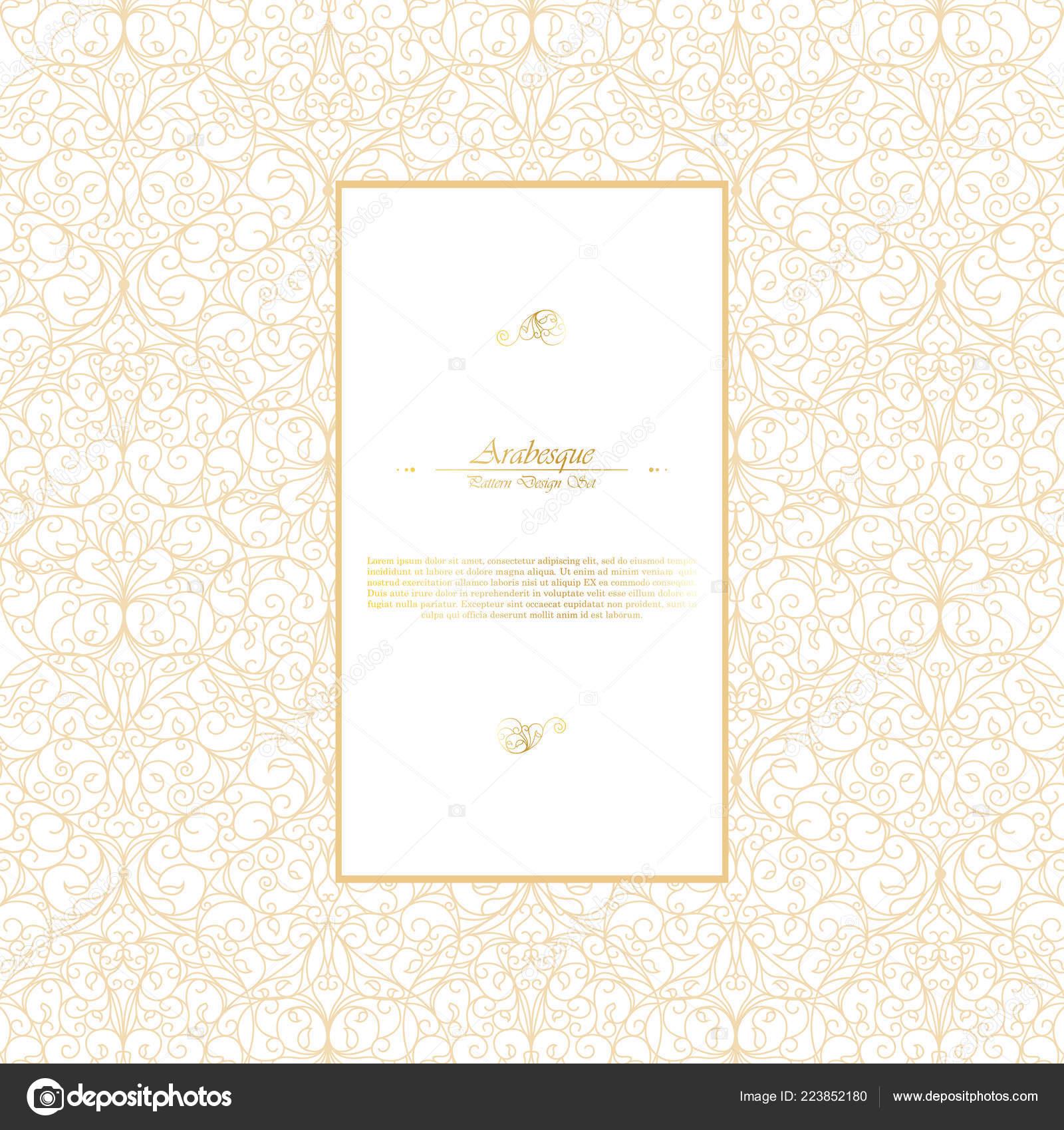 Arabesco Orientale Elemento Vintage Bianco Oro Sfondo Template