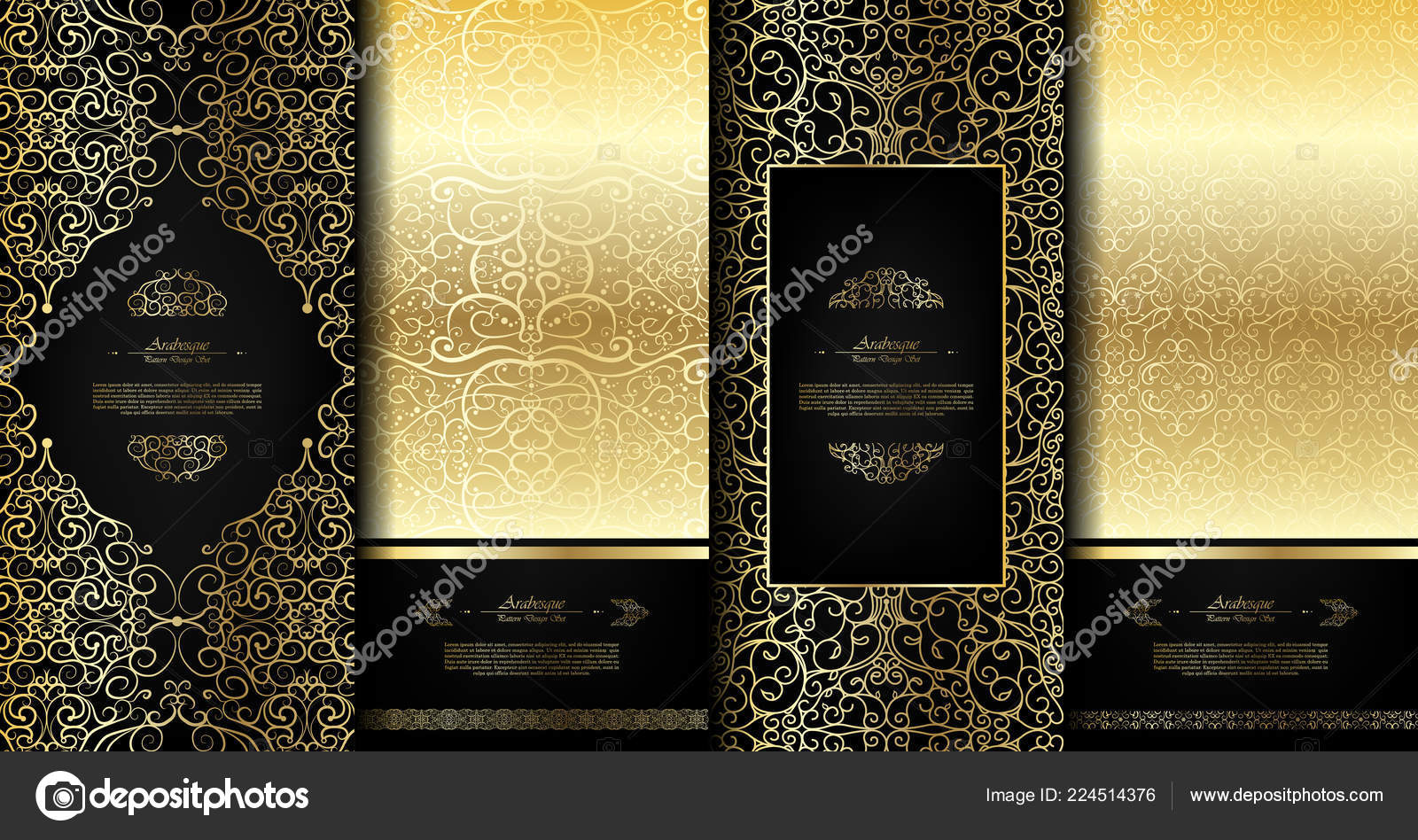 arabesque abstract eastern element classy black gold background card