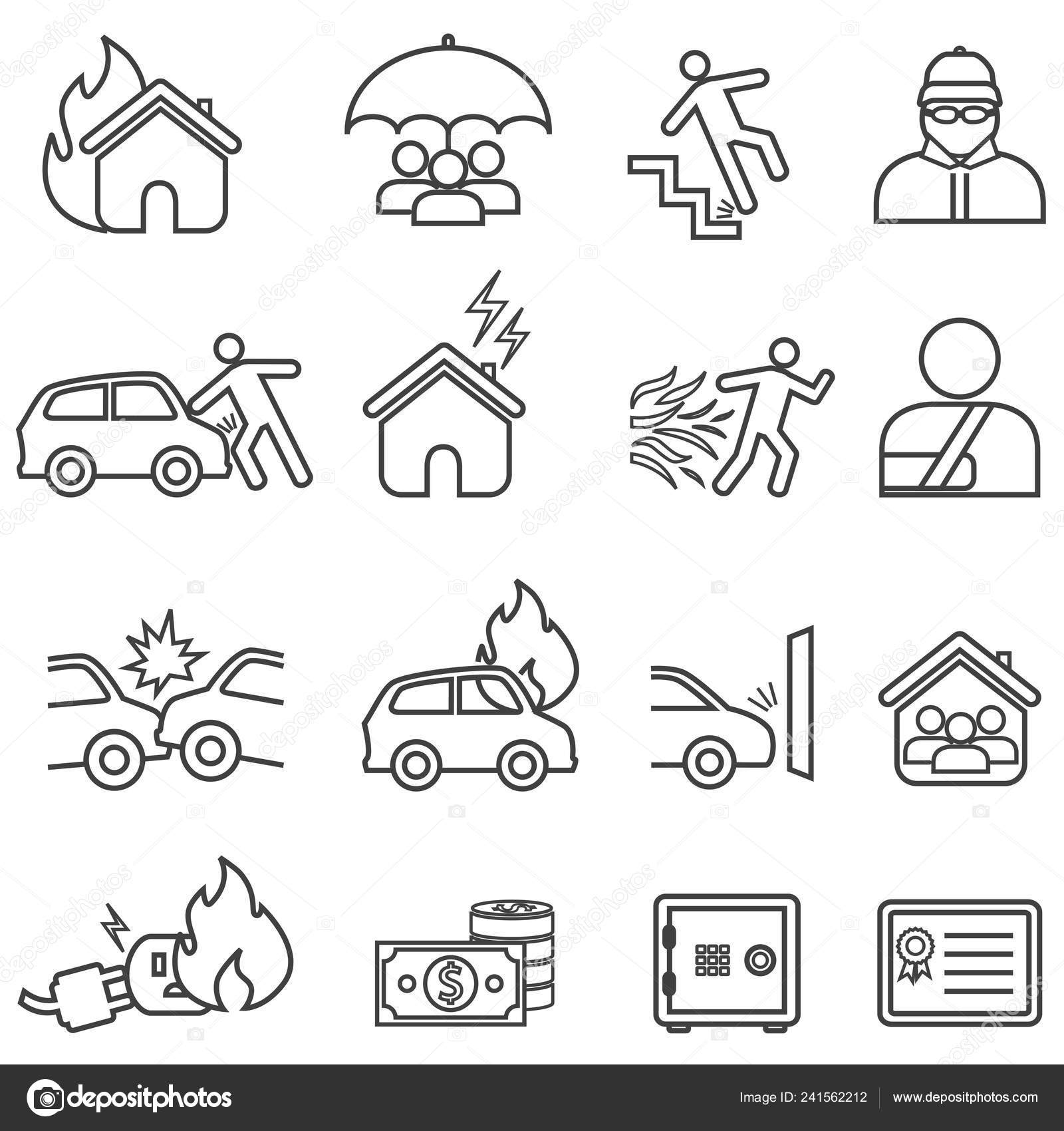 Car And Home Insurance >> Car Home Insurance Line Icon Set Stock Vector C Soleilc