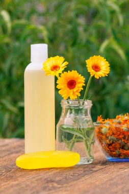 Spa products and accessories. Calendula flowers in a glass jar and bottle with skin care product, with marigold extract, bowl with dry flowers of calendula on wooden boards. Shallow depth of field
