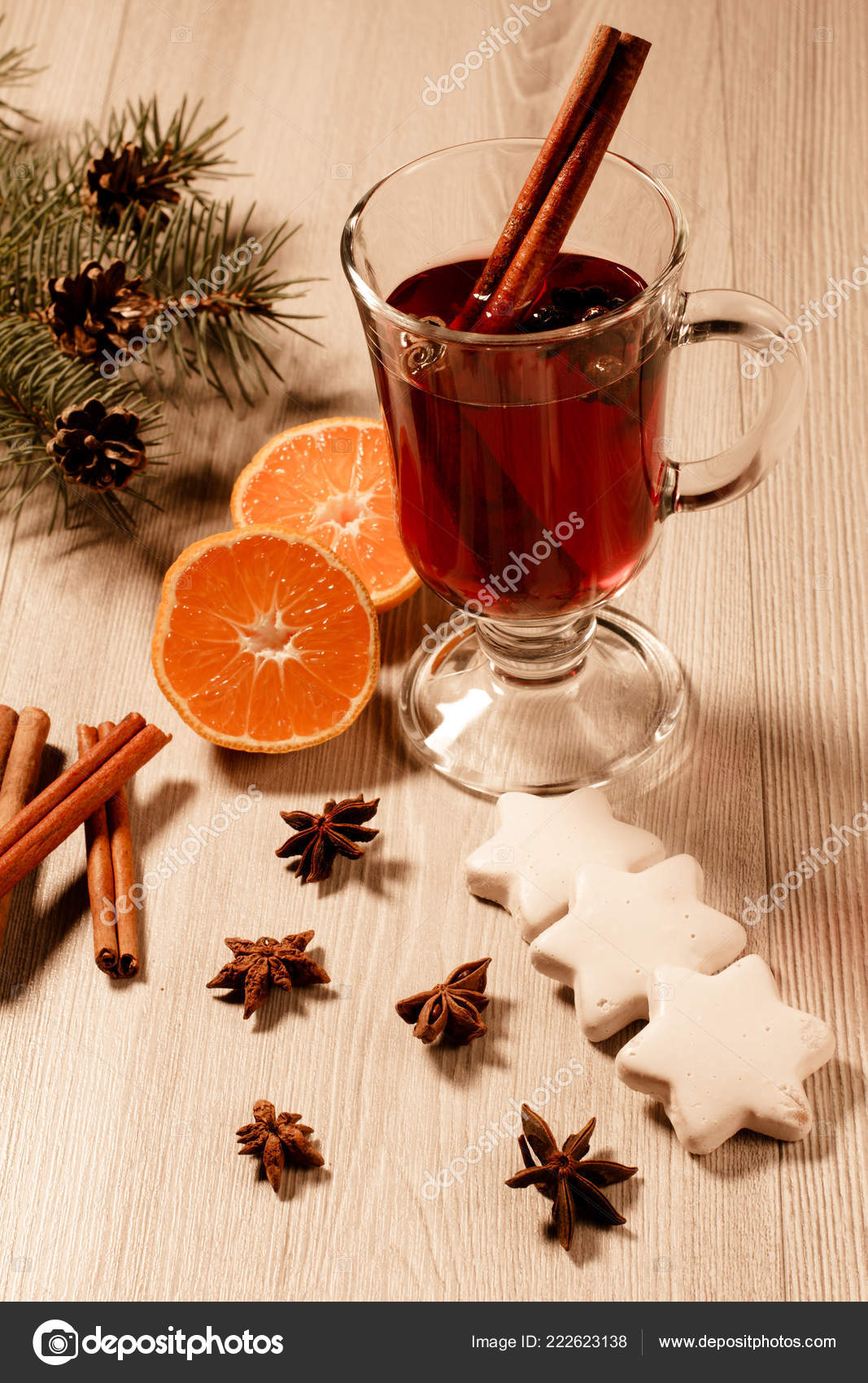 Glass Christmas Mulled Wine Cinnamon Star Anise Cloves Wooden