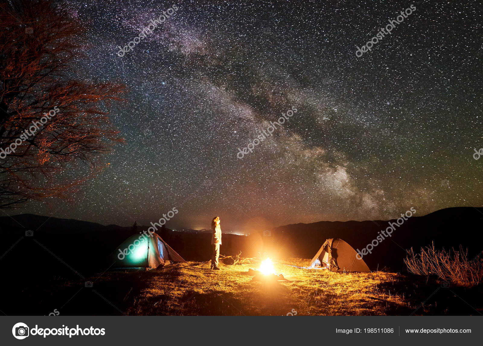 Peaceful Camping Night Mountains Young Tourist Long Haired