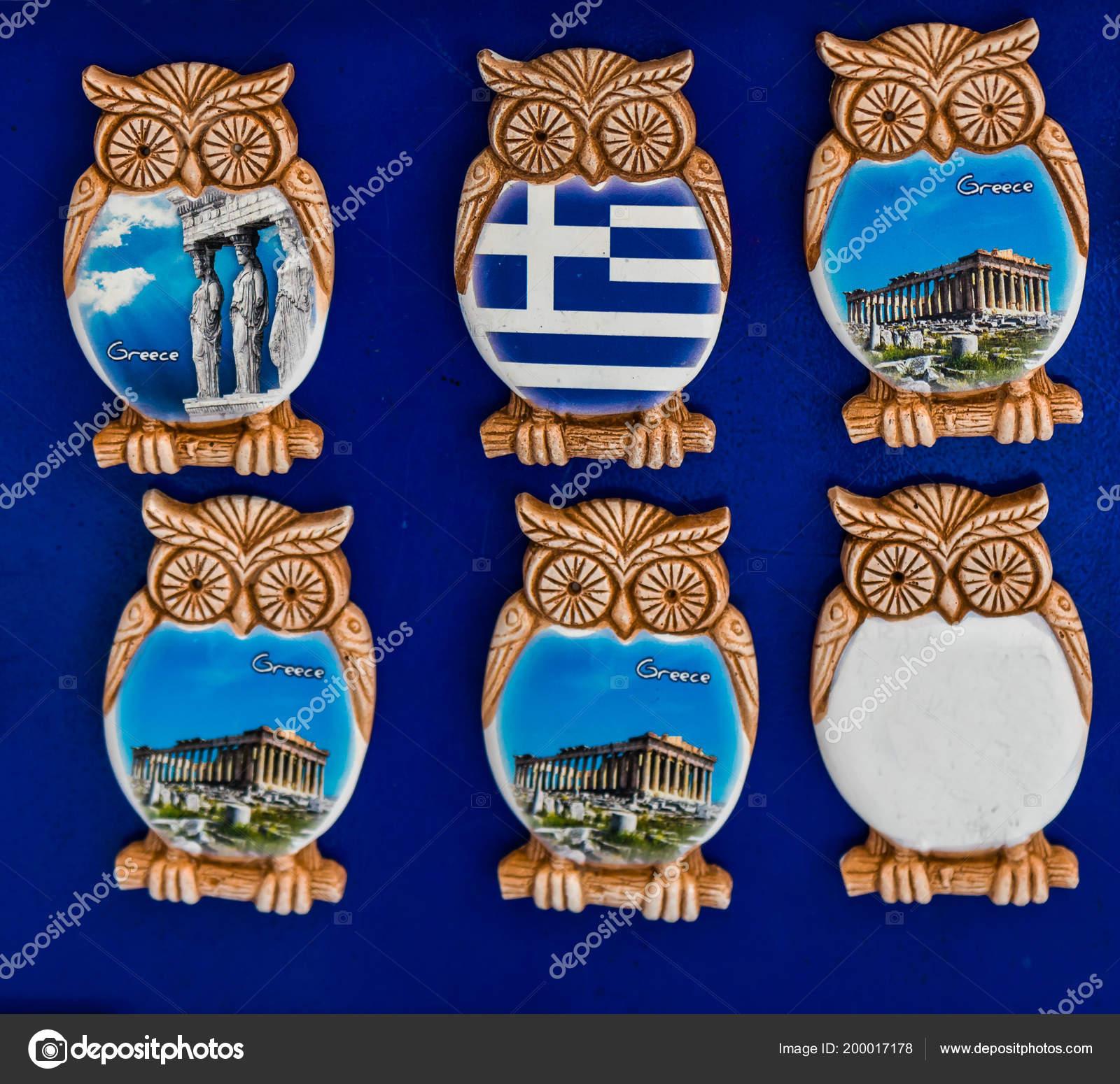 Greek Ceramic Designs Owl Magnets Parthenon Athens Greece