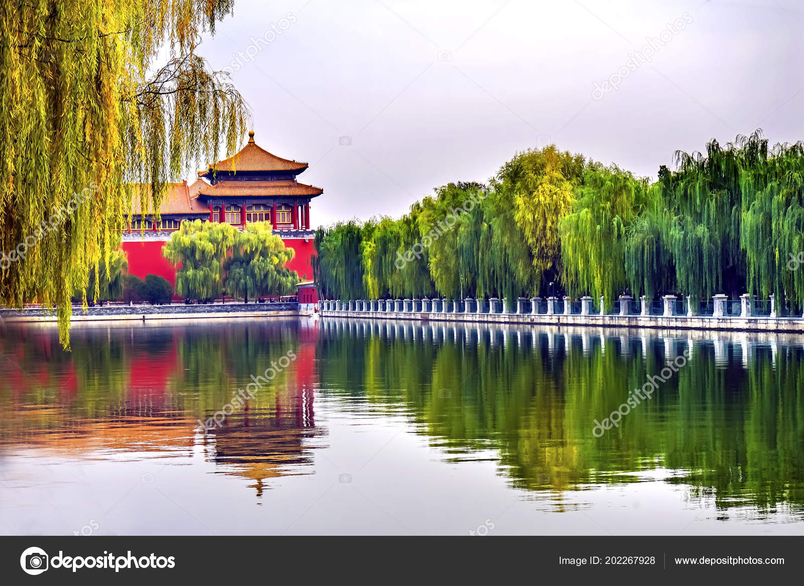 Meridian Gate Reflection Gugong Forbidden City Palace Wall Beijing