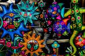 Színes mexikói kerámia v. Face kézműves Oaxaca Juarez Mexikó