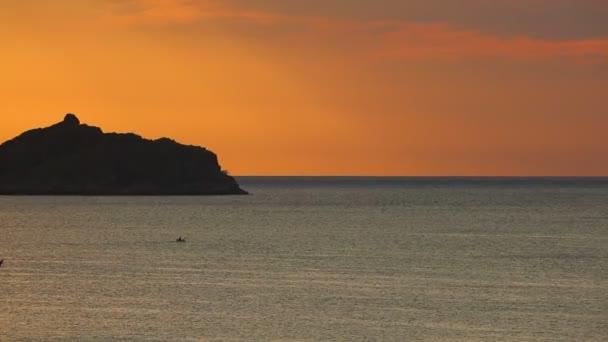 South China Sea Tropical Island Silhouette Sunrise Sky Scene Fishing Stock Video