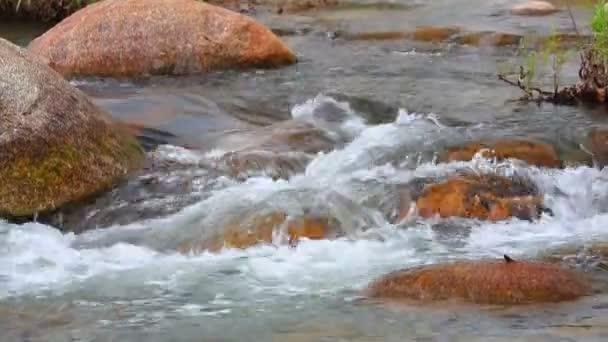 Friss víz hegyi folyó jelenet gyors folyású, friss esővíz és a nagy sziklák, panorámafelvétel fényképezőgép magas-meghatározás.