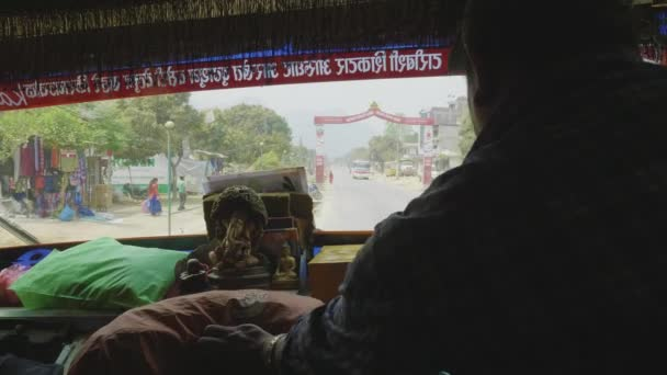 KATHMANDU, NEPAL - MARCH, 2018: View from the bus front window to the traffic in city.