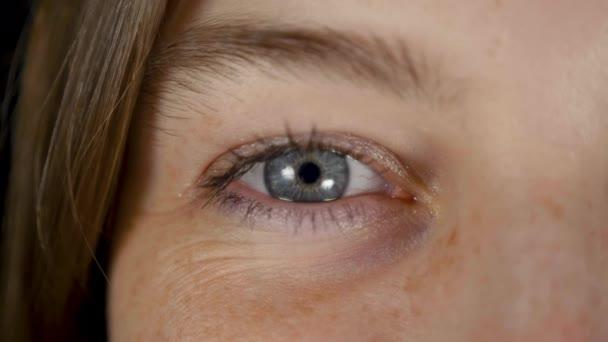 Izolované modré oko mladé krásné ženy v černém studiu