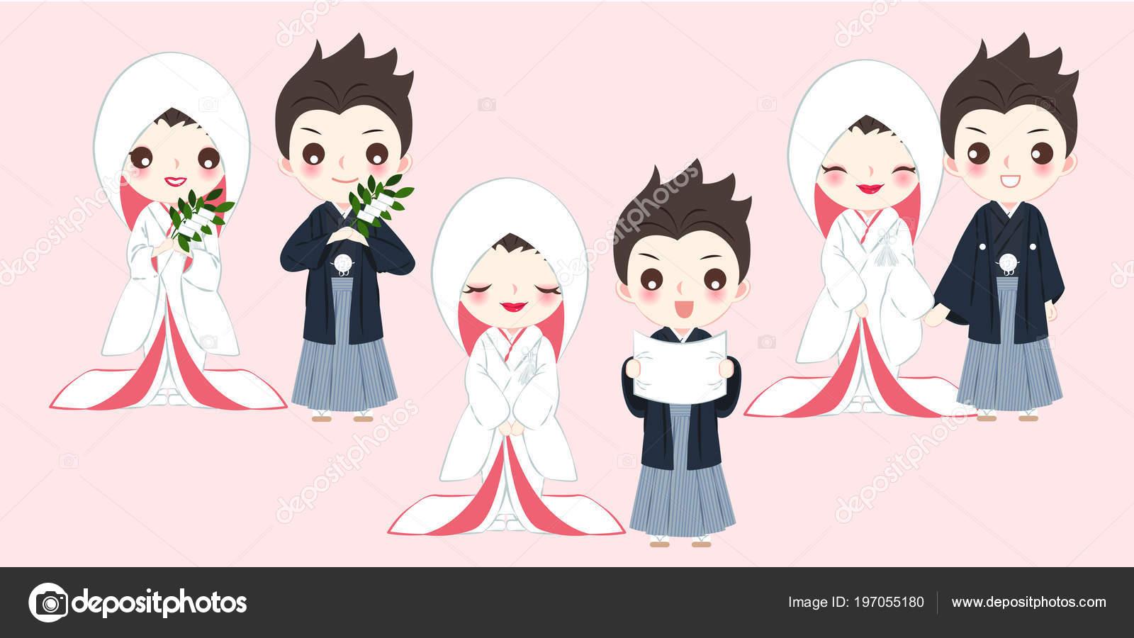Cute Cartoon Japanese Wedding Couple Pink Background Stock