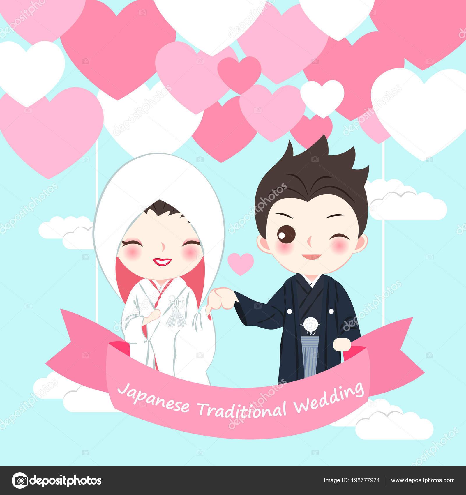 Cute Cartoon Japanese Wedding Couple Blue Background Stock