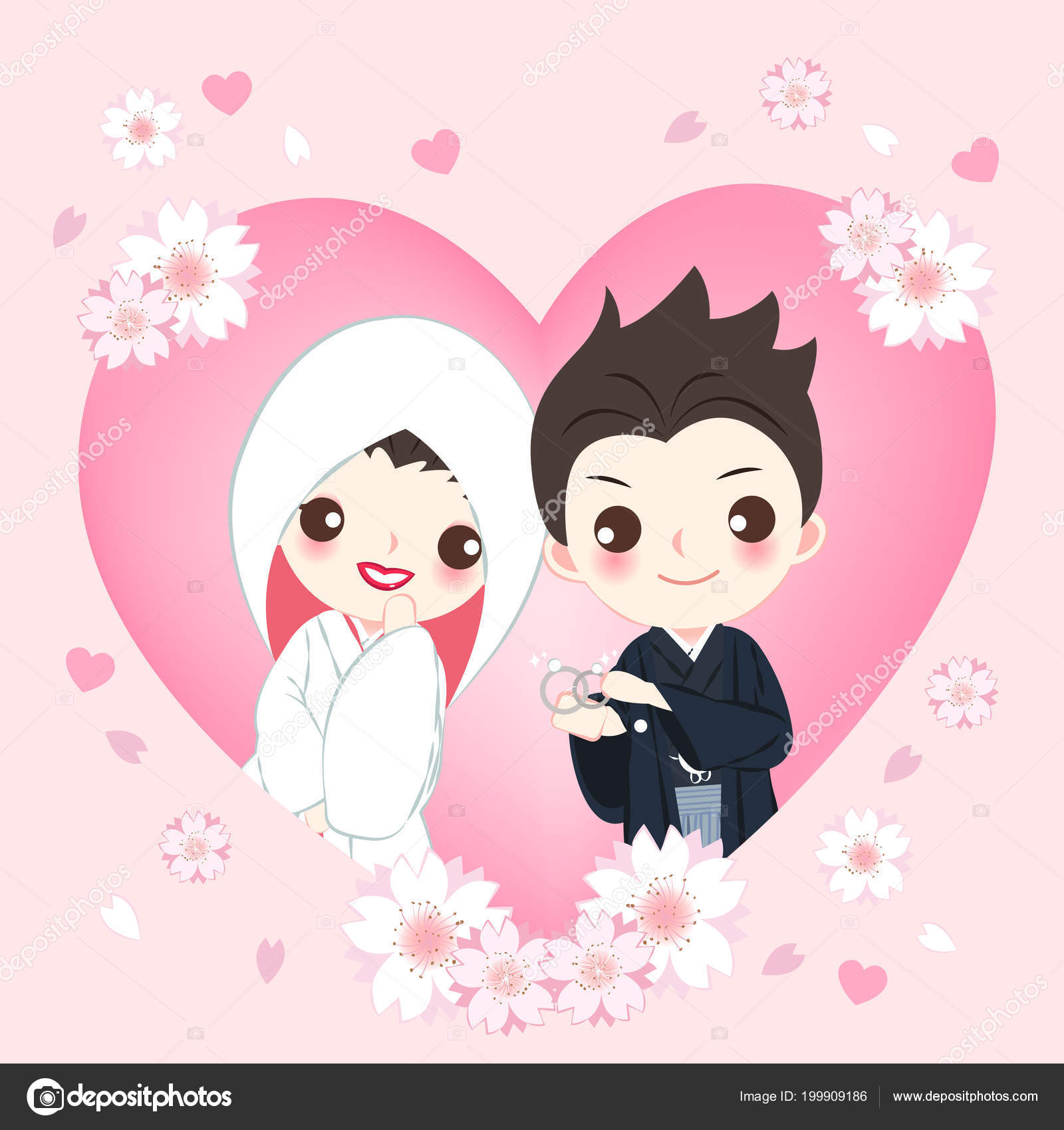 Cute Cartoon Japanese Wedding Couple Pink Background Stock Vector