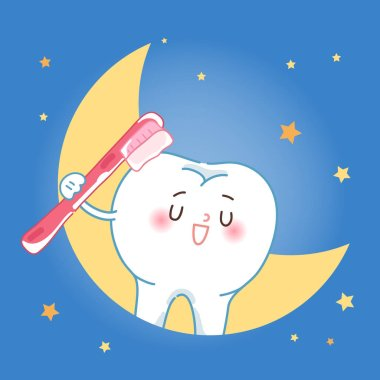 cute cartoon tooth take tooth brush at night