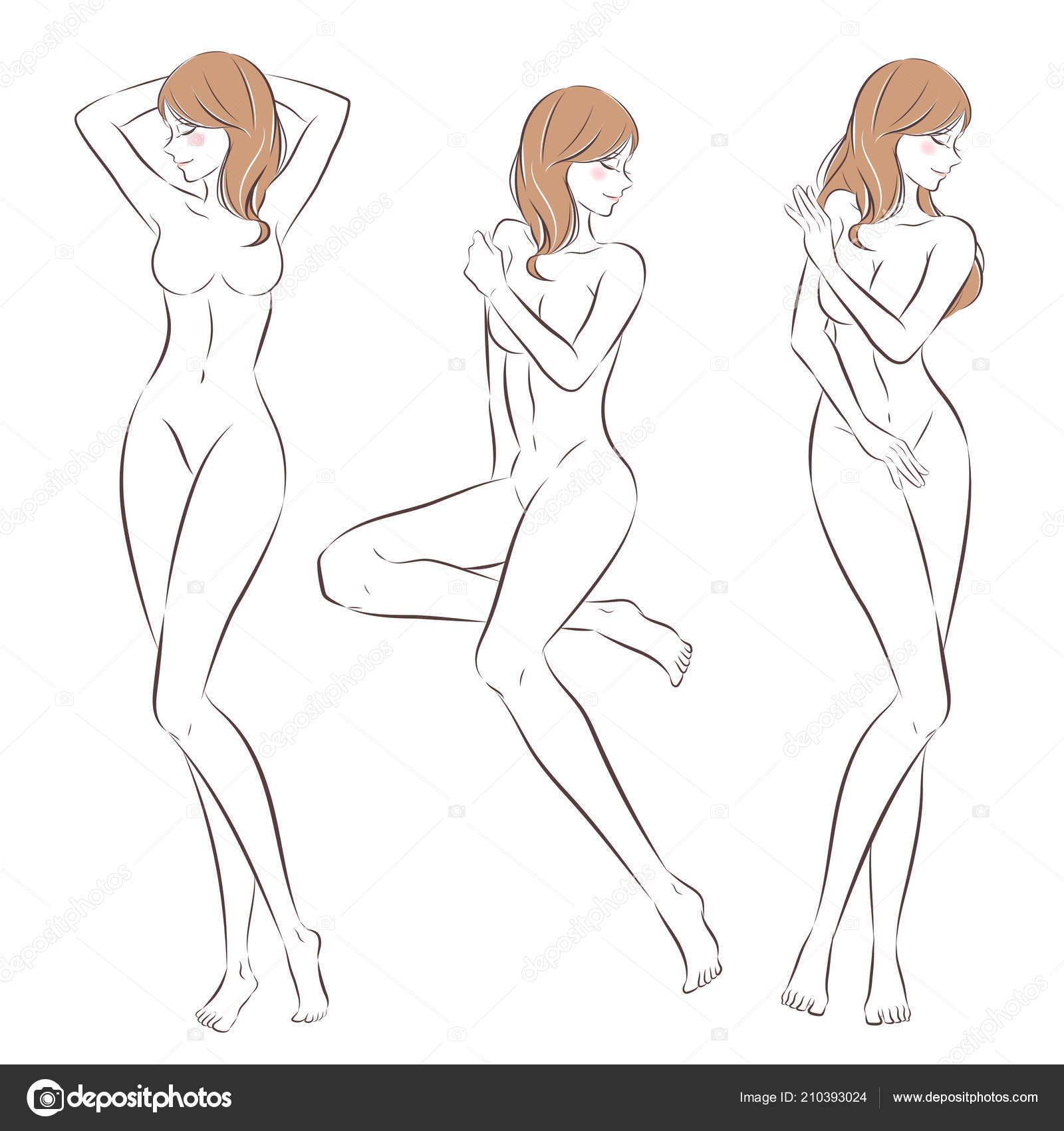 Mujer Desnuda Dibujos Animados Sobre Fondo Blanco Archivo Imágenes