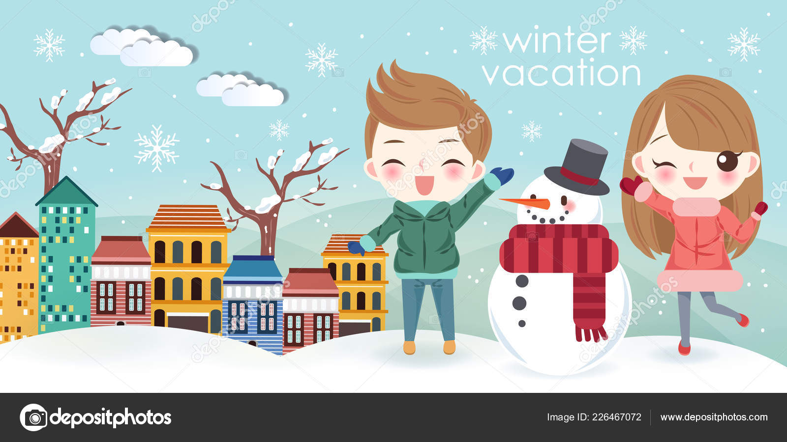 cartoon kids travel snowman winter vacation stock vector