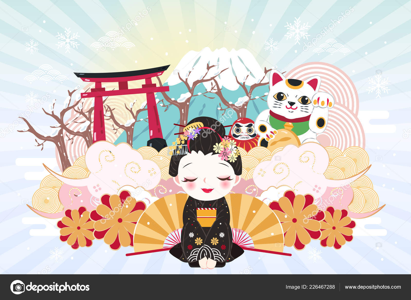 cute cartoon geisha japan travel elements winter stock vector