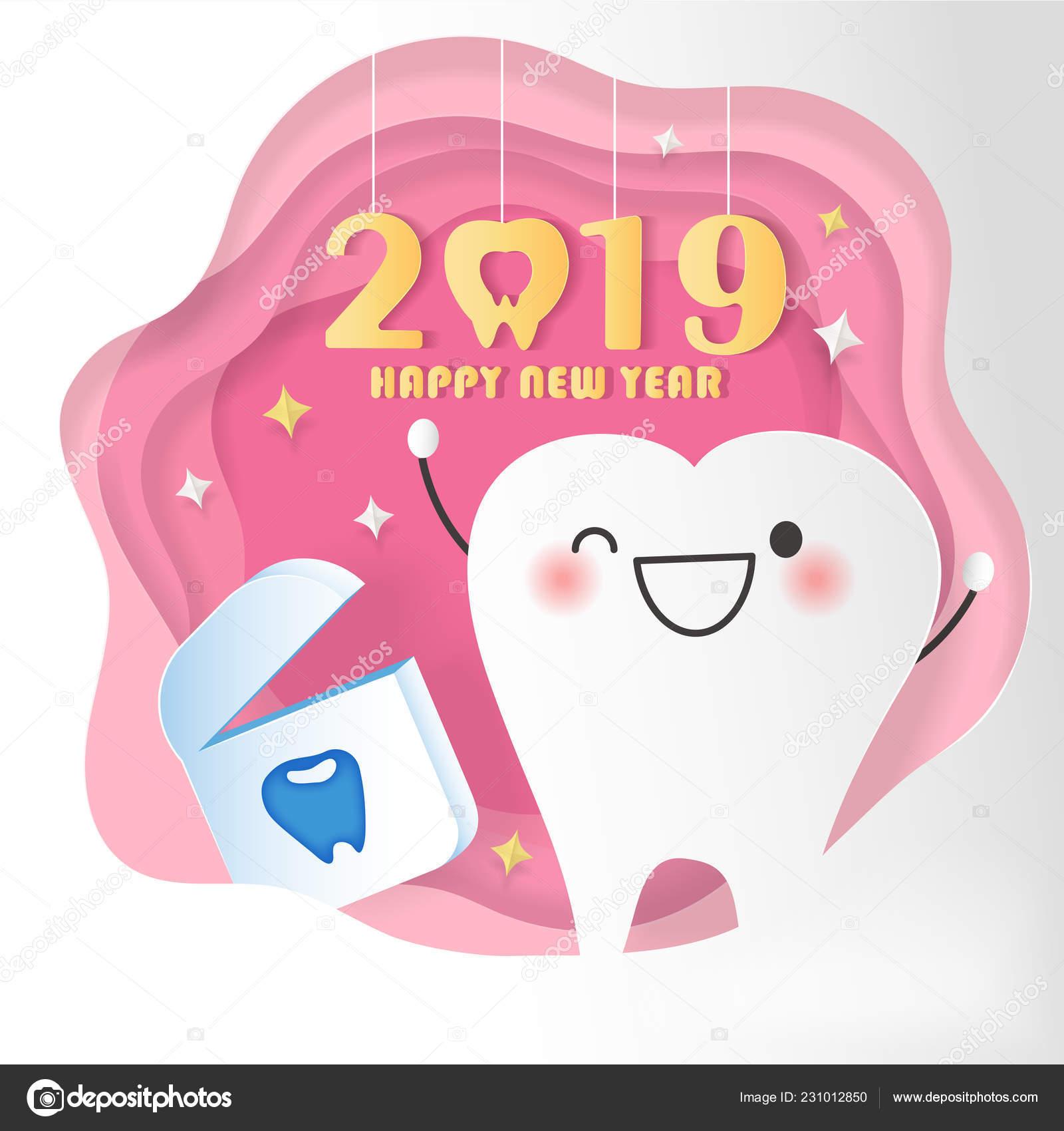 Feliz Ano Novo Conceito Desenho Dentes Fio Dental Com 2019