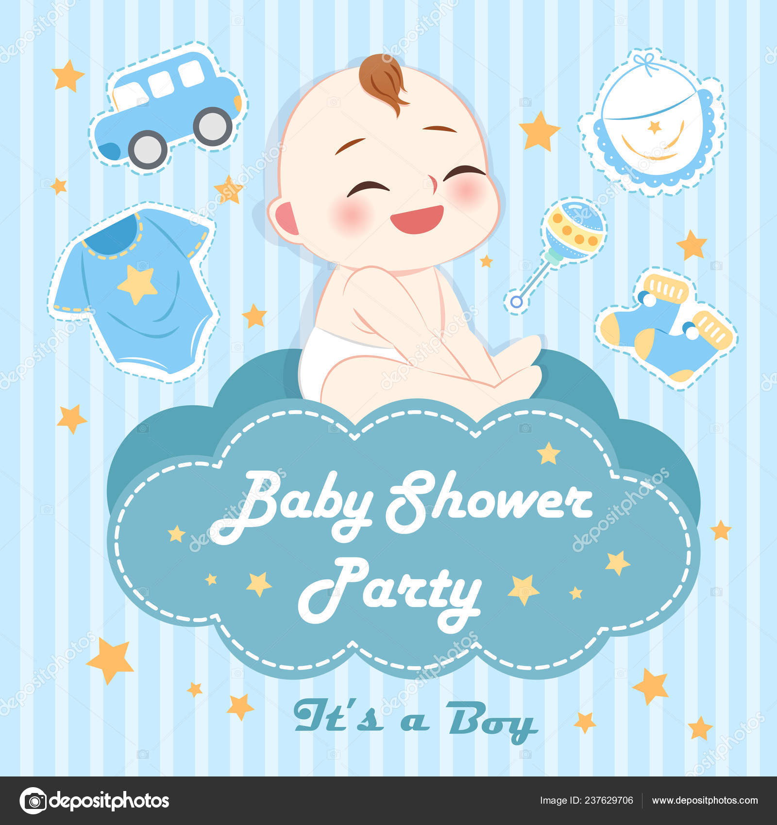 Cute Cartoon Boy Baby Shower Invitation Card Toys Blue