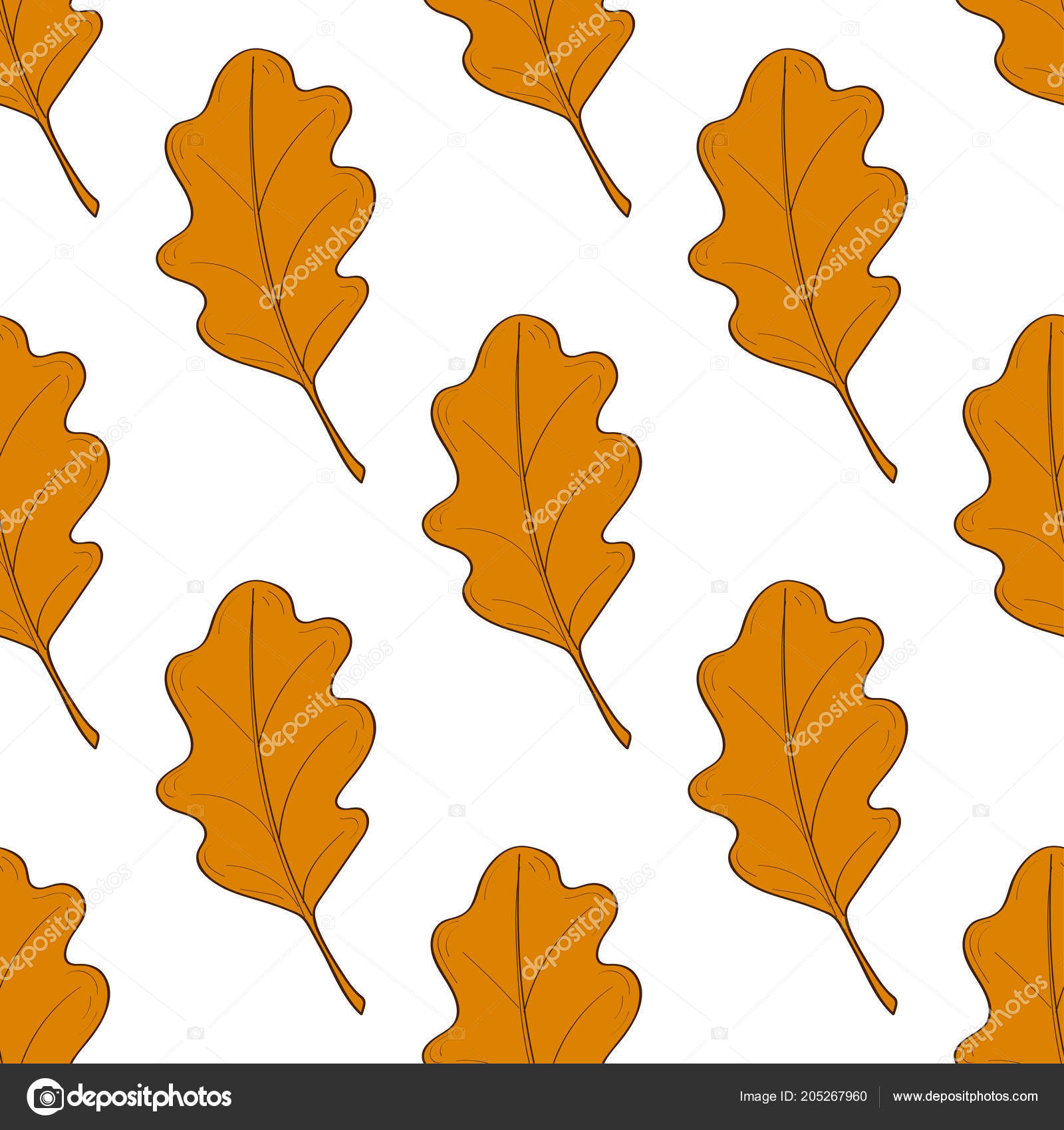 Hand drawn seamless pattern with fallen autumn leaves of various