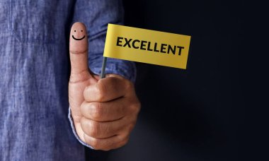 Customer Experience Concept, Best Excellent Services Rating for Satisfaction present by Thumb of Client with Excellent word and Smiley Face icon