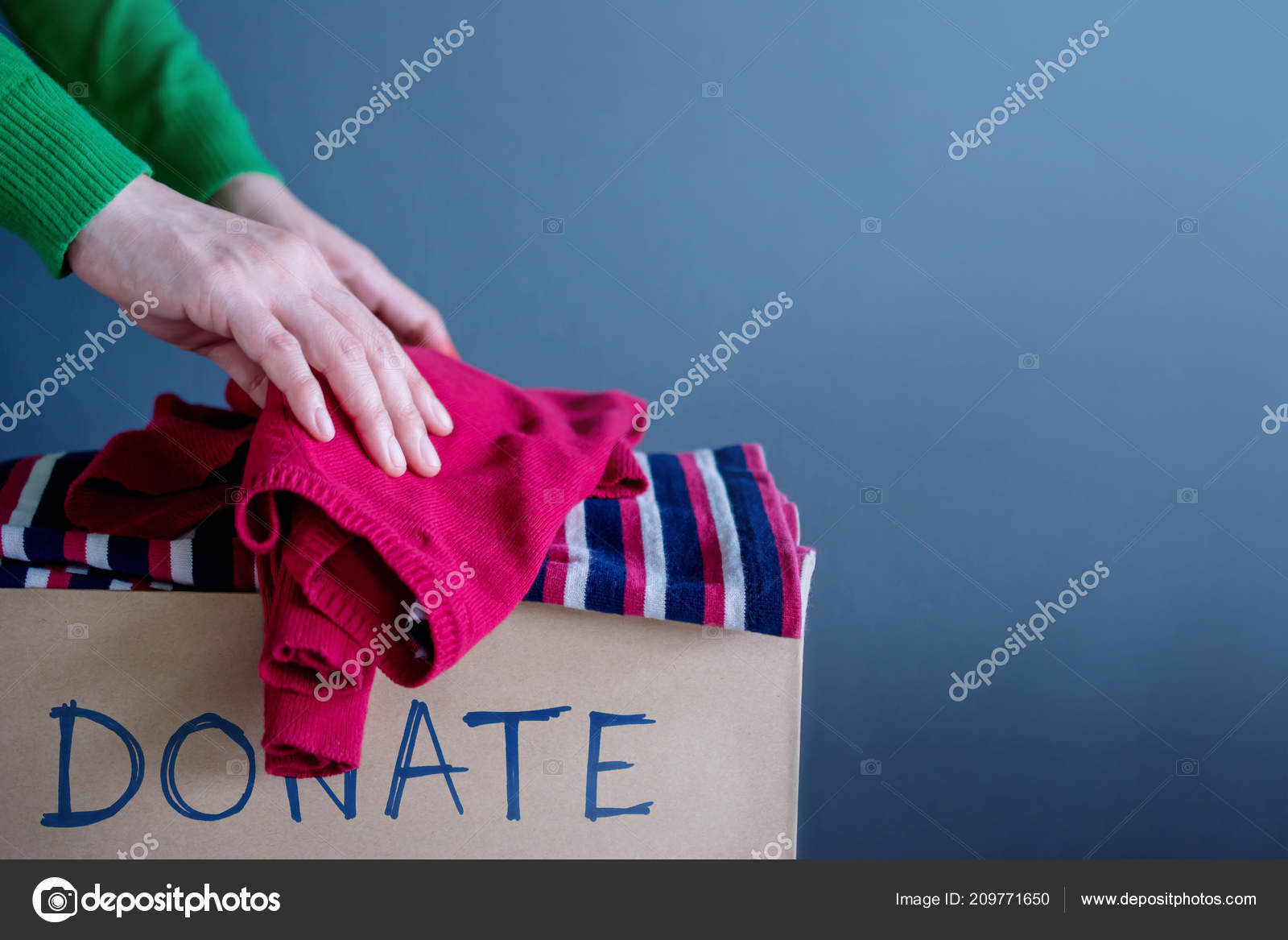 Donation Concept Woman Droping Her Used Old Clothes Donate Box