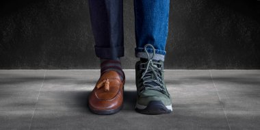 Work Life Balance Concept. Low Section of a Man Standing in  Working Shoe and Casual Traveling Shoe
