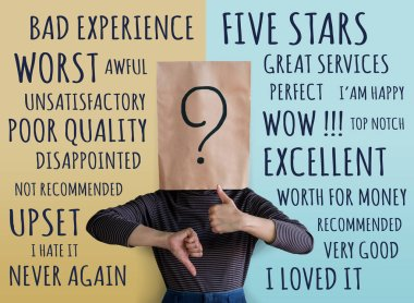 Customer Experience Concept. Client Woman with Question Mark Icon on Paper Bag has Confused for giving Rating Between Positive and Negative Review