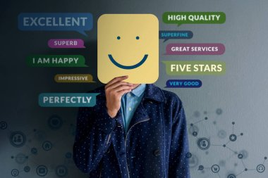 Customer Experience Concept. Happy Client standing at the Wall with Smiling Face on Paper. Surrounded by Positive Review in Speech Bubble and Social Network icons