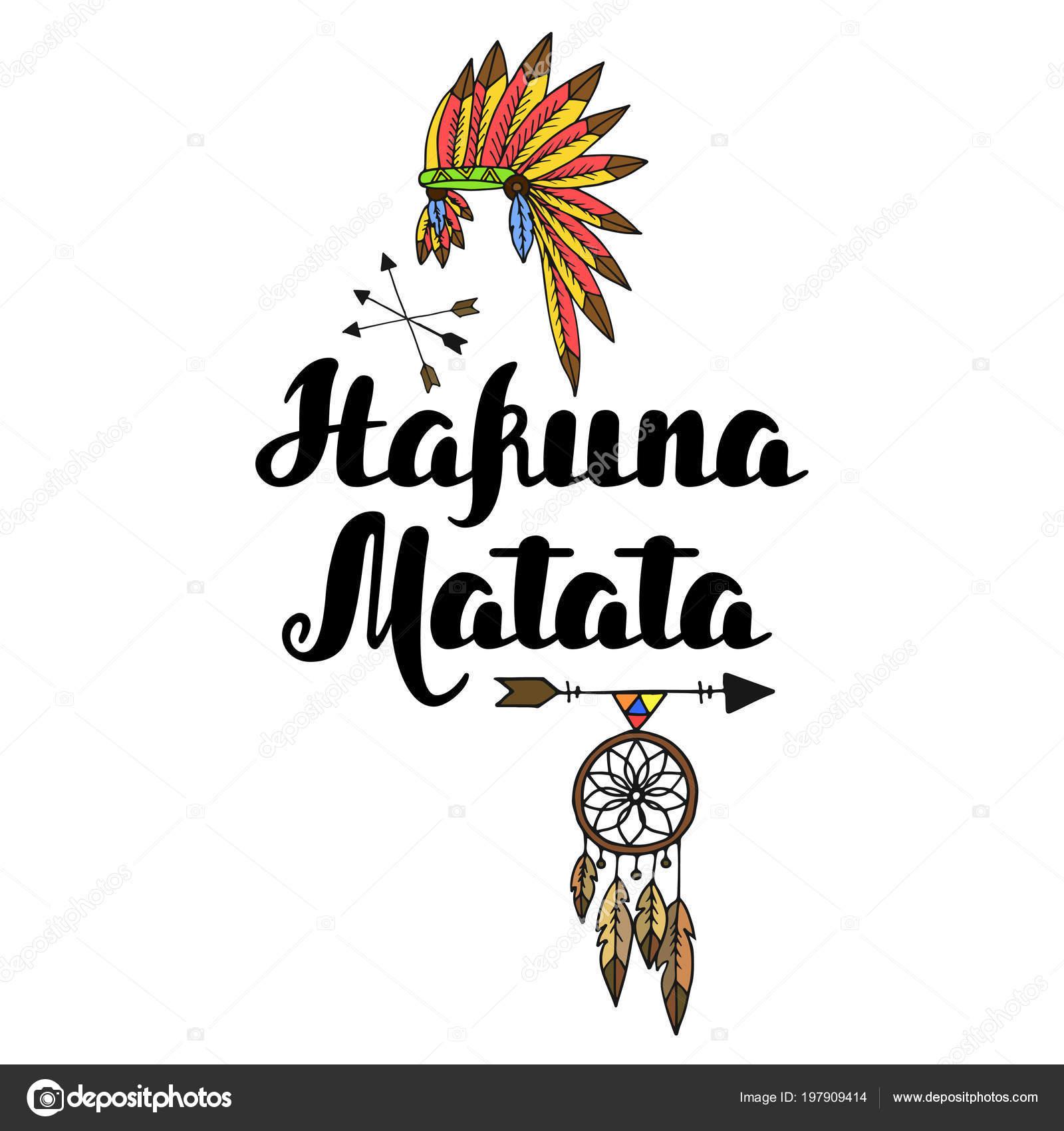 Vector De Hakuna Matata Mano Tipografía Dibujada Ilustración