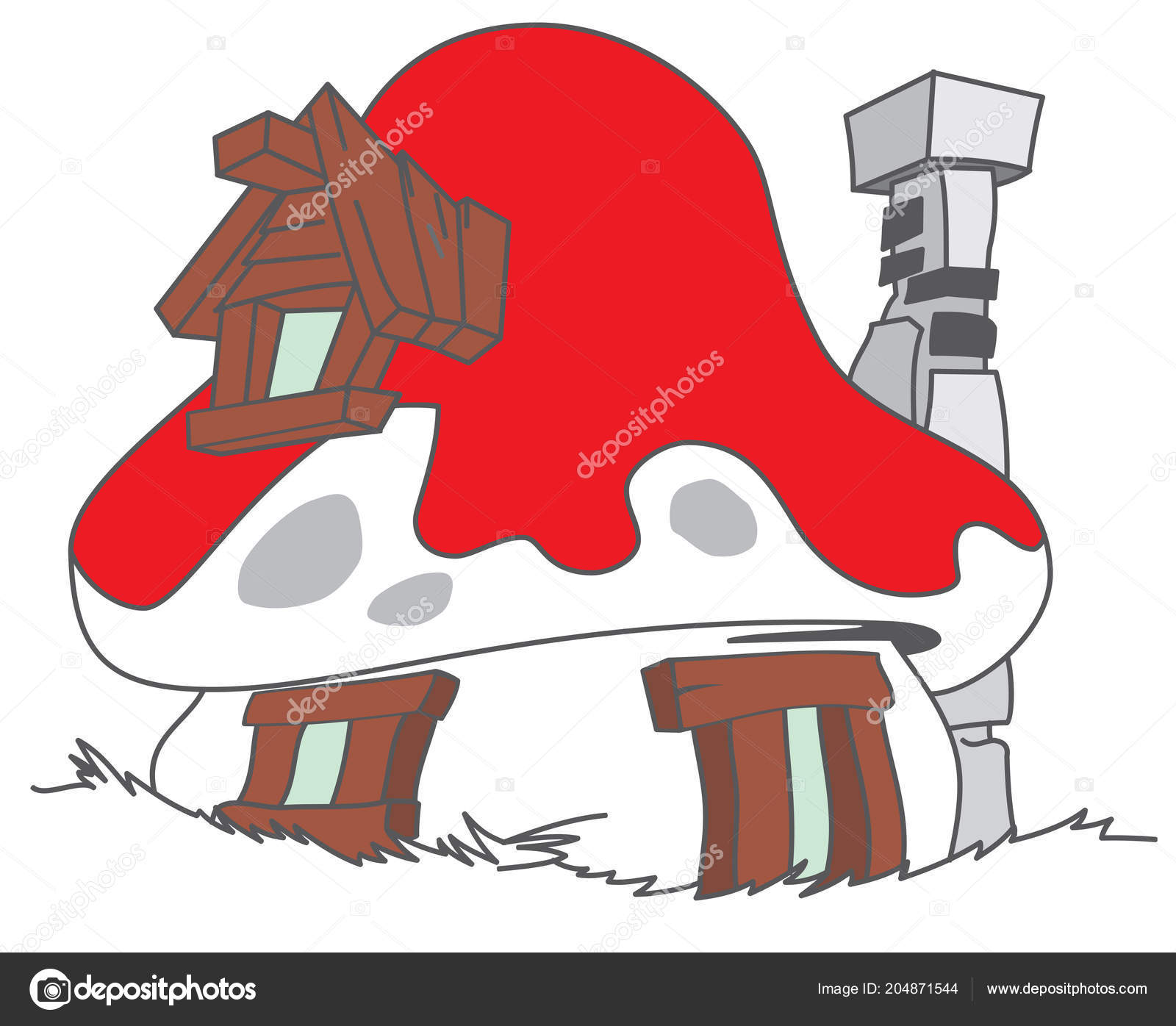 Maison schtroumpf cartoon illustration aux champignons images de stock libres de droits