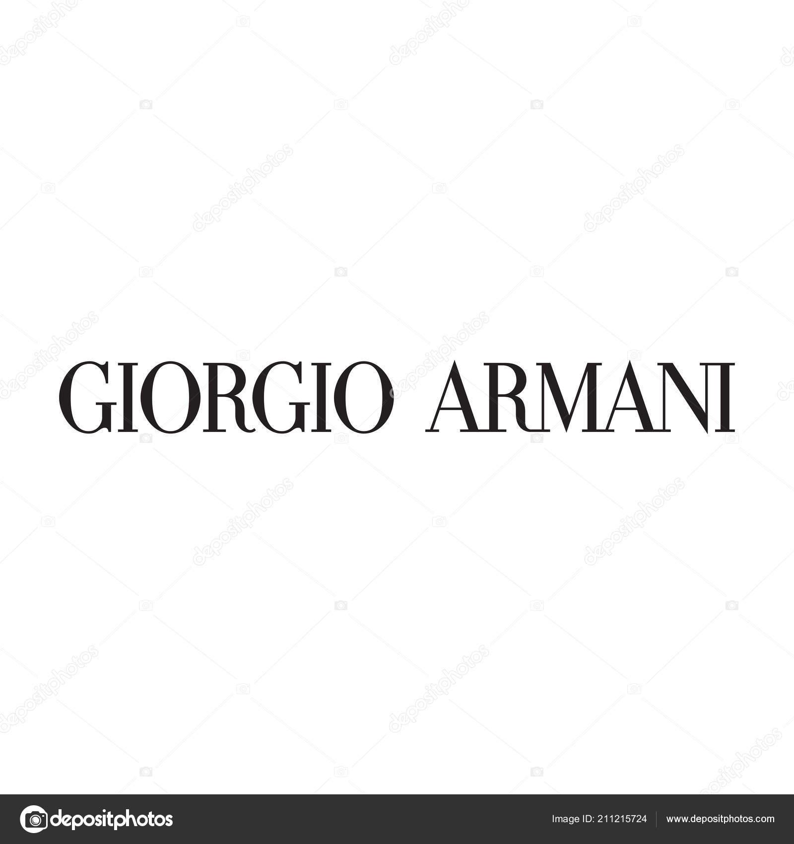 e8615f7918f9 Ρούχα Μάρκας Εικονογράφηση Του Giorgio Armani Λογότυπο Μόδας Πολυτέλειας — Φωτογραφία  Αρχείου
