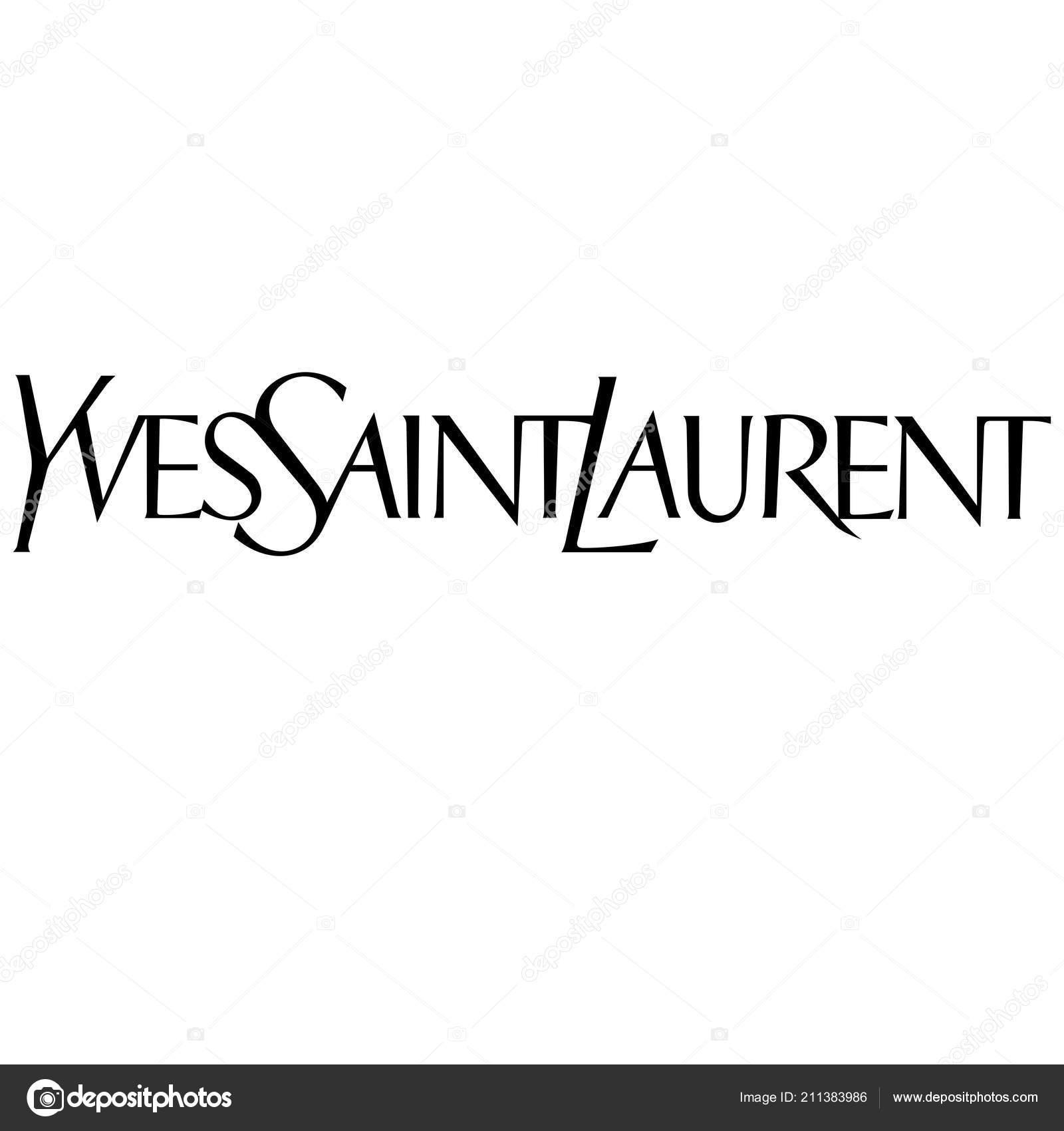 a3e4c1774c722 Yves Saint Laurent Logotipo Moda Luxo Marca Roupas Ilustração — Fotografia  de Stock