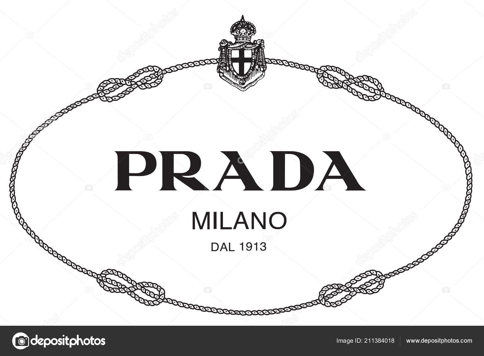 ae7992844 Ilustración de ropa Prada milano logo marca de lujo de moda Italia — Foto de  ...