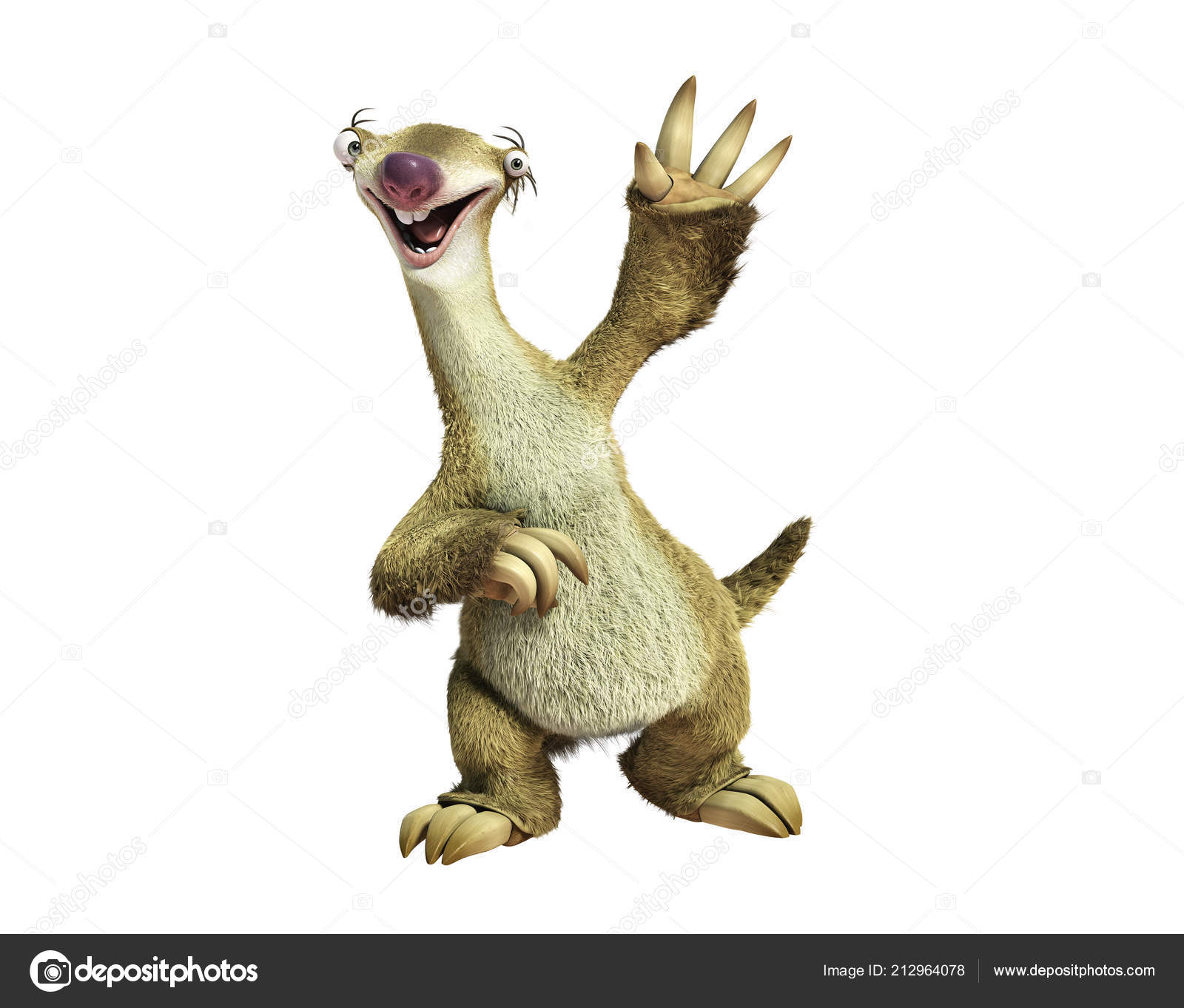 Ice Age Ground Sloth Sid Illustration Cartoon Character Stock