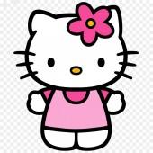 Hello Kitty rózsaszín ruha kezek ölelés illusztráció