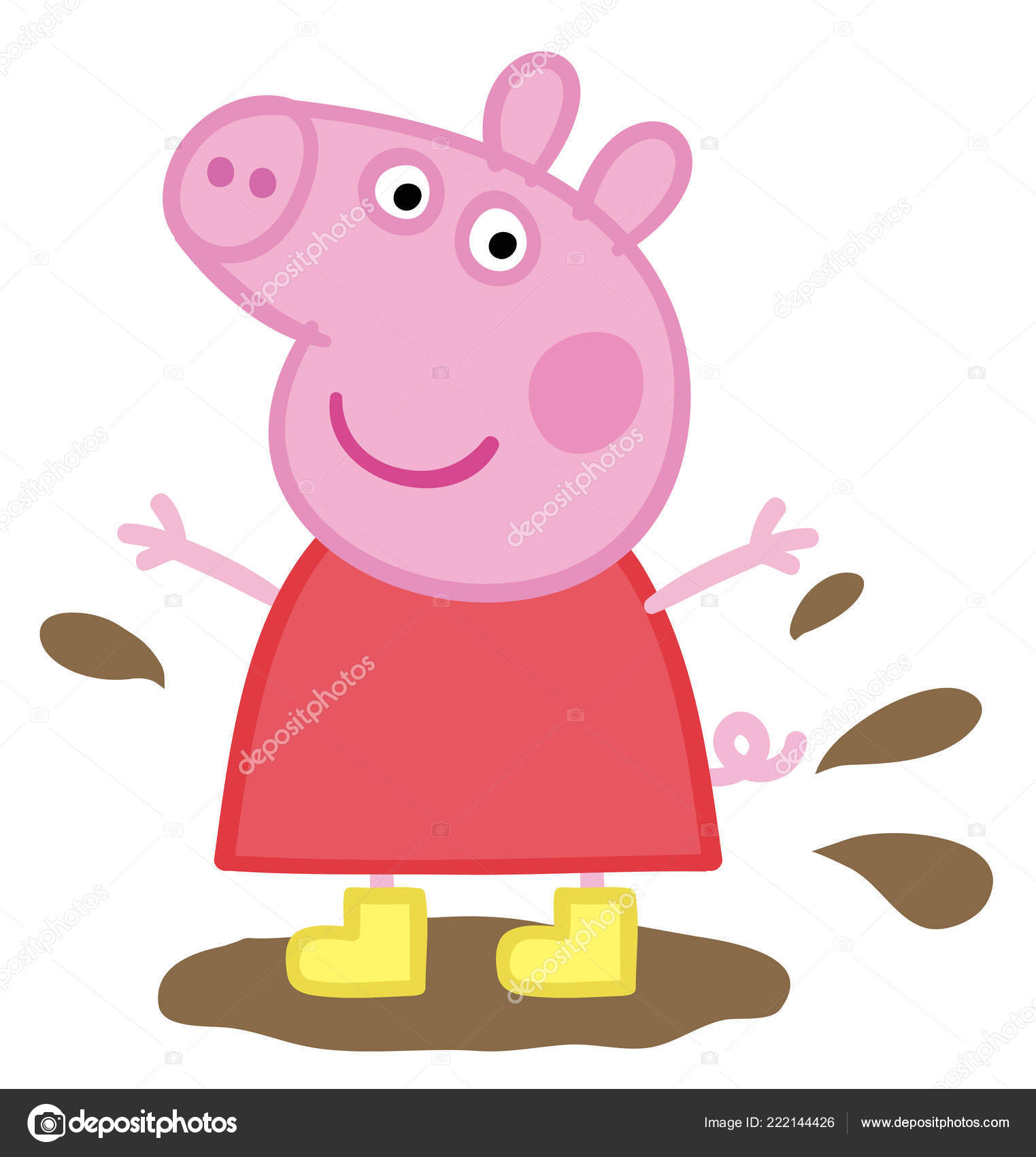 Peppa Pig Kids Cartoon Character Mud Illustration Stock