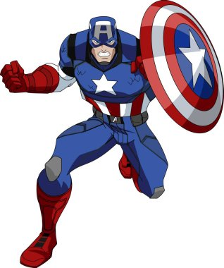 captain america superhero action shield illustration character