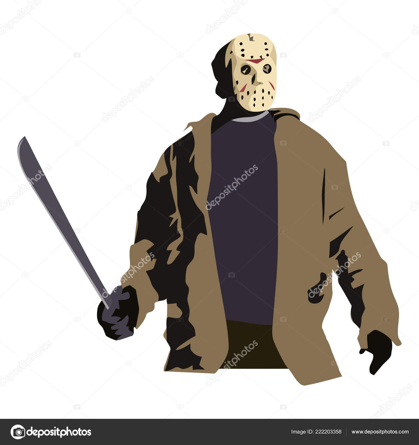 Halloween Jason Mask Cartoon.Jason Halloween Terror Killer Scary Mask Illustration Stock
