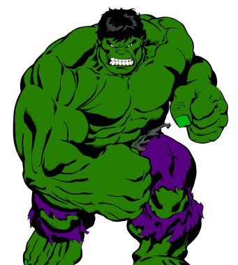 the incredible muscular hulk angry strong power illustration