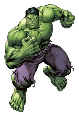 the incredible muscular hulk green strong power illustration