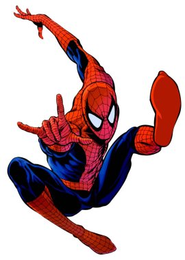 spideman powerful jump  hero illustration action