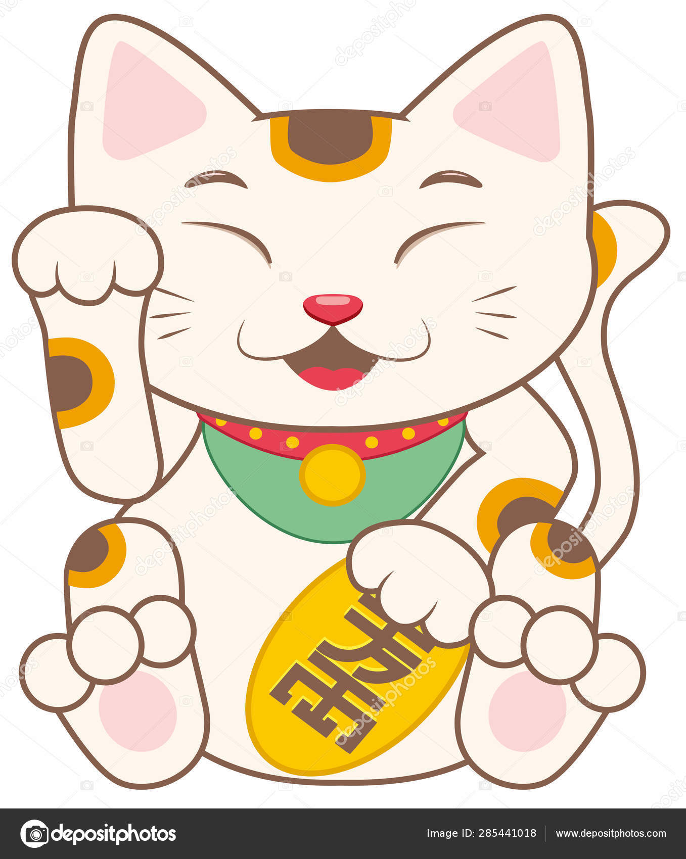 子猫翻訳ラッキー猫かわいい日本運勢白イラスト ストック写真