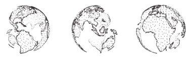 """Картина, постер, плакат, фотообои """"набор вектора планеты формы от точки и точек. города модульныеl москва"""", артикул 416712000"""