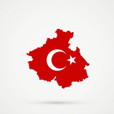 Altai Republic map in Turkey flag colors, editable vector.