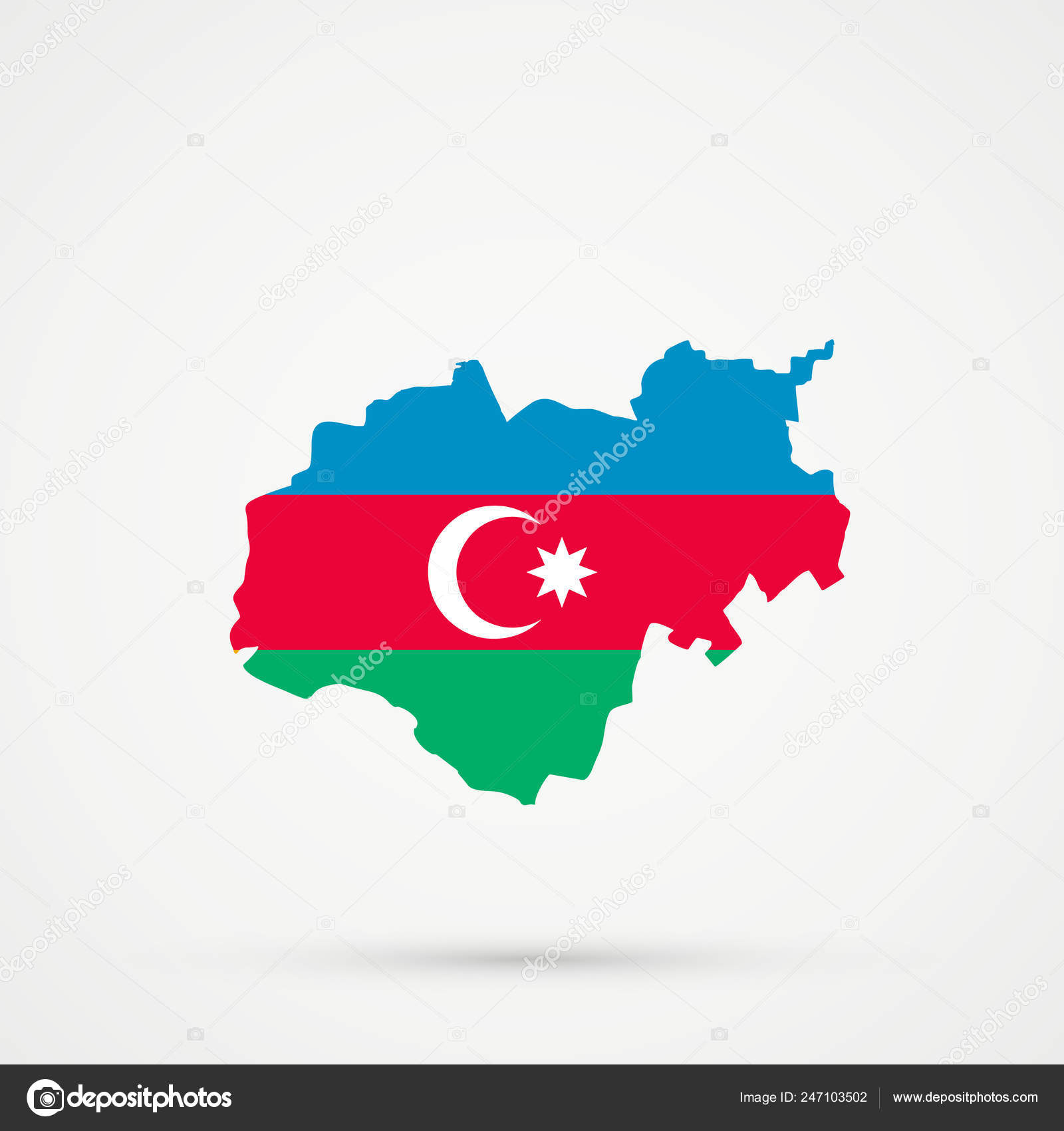 Kabardino Balkar Republic Map Azerbaijan Flag Colors Editable Vector Stock Vector C L8l 247103502