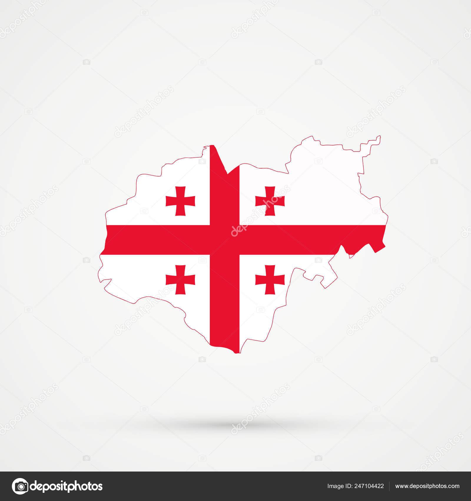 Map Of Republic Of Georgia.Kabardino Balkar Republic Map Georgia Flag Colors Editable Vector
