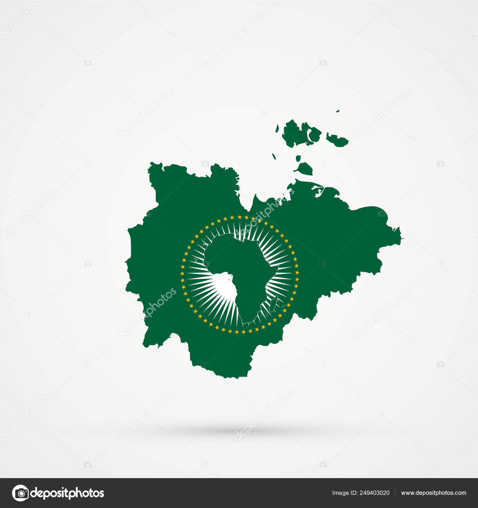 African Union Map.Sakha Republic Map In African Union Au Flag Colors Editable