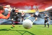 jelenetek egy foci, vagy futball játék férfi teniszező