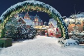 Christmas market by night in Coburg, Germany
